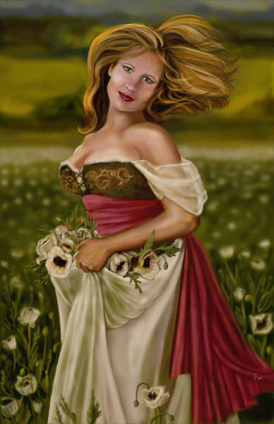 Maiden Wall Art - Painting - Maiden Amongst The Poppies by Maggie Terlecki