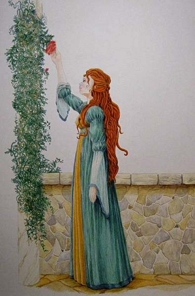 Maiden And The Rose Art Print by Theresa Higby