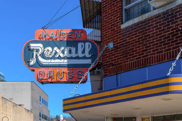Photograph - Maiden Rexall Drugs Sign by Sharon Popek