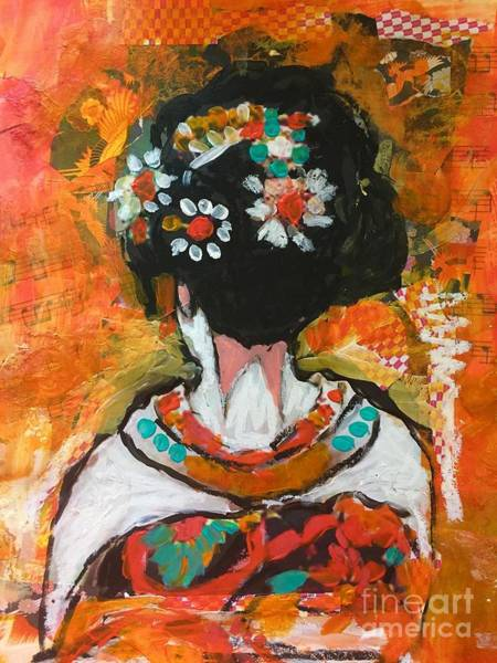 Art Print featuring the painting Maiko In Orange  by Corina Stupu Thomas