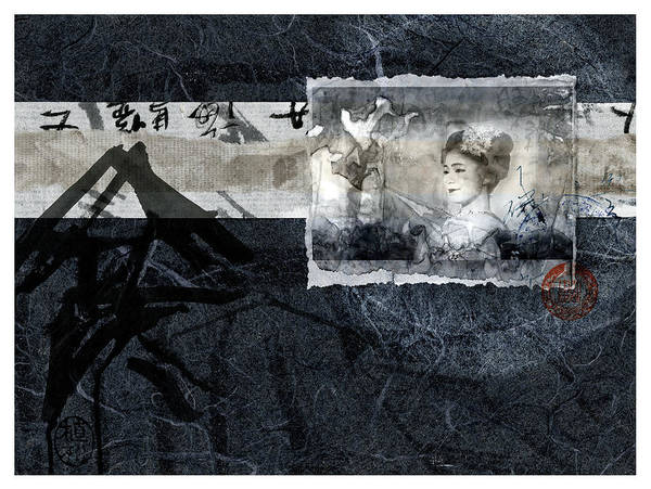 Wall Art - Mixed Media - Maiko On Blue by Carol Leigh