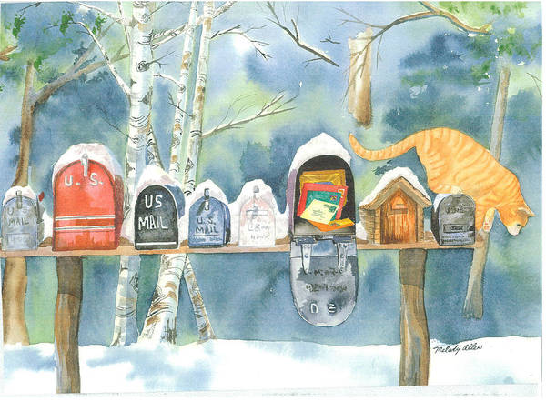 Wall Art - Painting - Mailboxes On Buttermilk Falls Road by Melody Allen