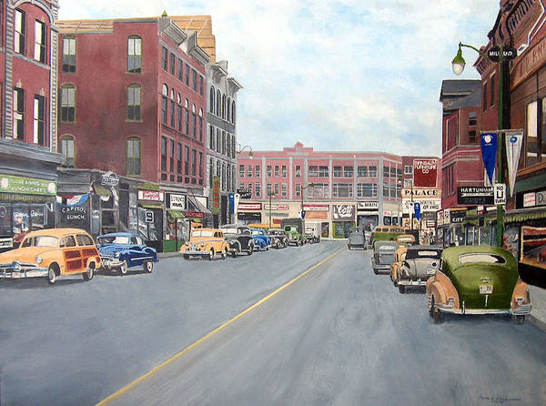 Street Scape Painting - Main St New Britain Ct 1950 Centenial by John Fitzsimmons