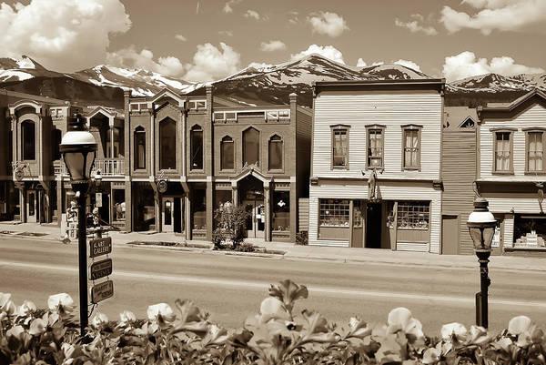 Photograph - Main Street - Breckenridge Colorado Skyline In Sepia by Gregory Ballos
