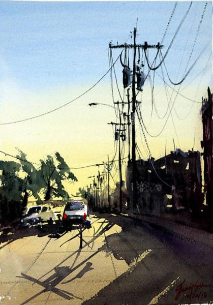 Wall Art - Painting - Main Street Morning by James Nyika
