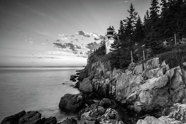 Photograph - Maine Acadia Bass Harbor Lighthouse In Black And White by Ranjay Mitra