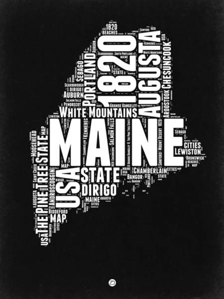 Maine Wall Art - Digital Art - Maine Black And White Map by Naxart Studio