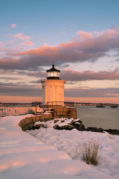 Photograph - Maine Bug Light Lighthouse Snow At Sunset by Ranjay Mitra
