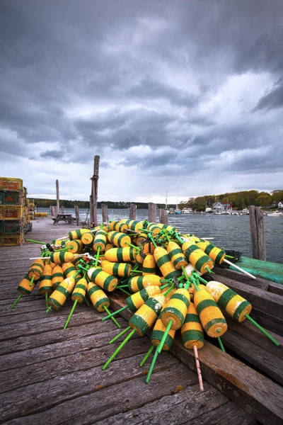 Wall Art - Photograph - Maine Buoys And Storm Clouds by Eric Gendron