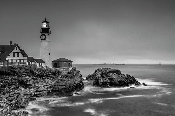 Photograph - Maine Cape Elizabeth Lighthouse Aka Portland Headlight In Bw by Ranjay Mitra