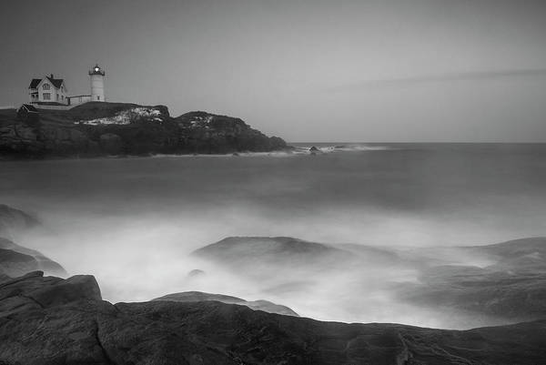 Art Print featuring the photograph Maine Cape Neddick Lighthouse And Rocky Coastal Waves Bw by Ranjay Mitra