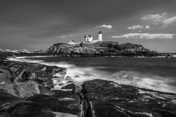 Art Print featuring the photograph Maine Cape Neddick Lighthouse In Bw by Ranjay Mitra