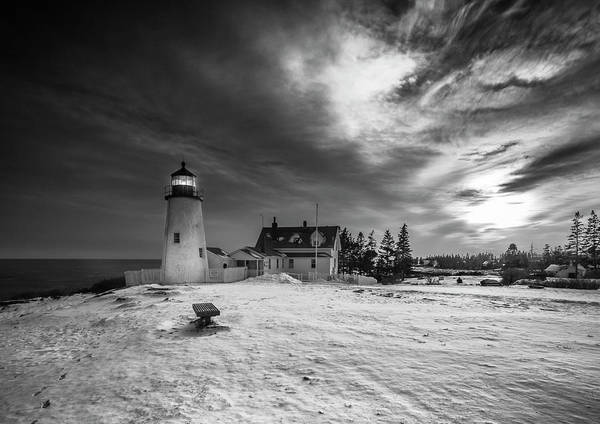 Art Print featuring the photograph Maine Coastal Storm Over Pemaquid Lighthouse by Ranjay Mitra
