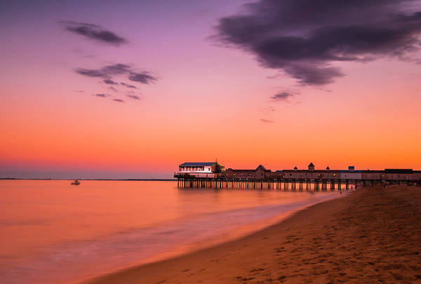 Photograph - Maine Coastal Sunset At Old Orchard Beach Pier by Ranjay Mitra