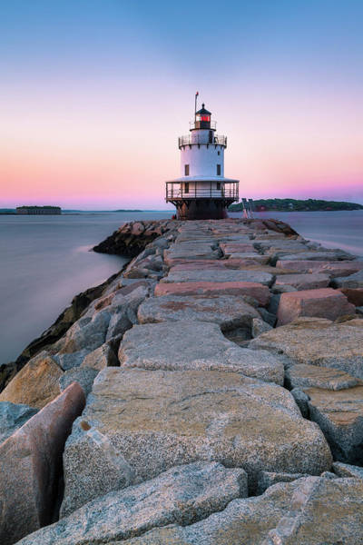 Photograph - Maine Coastal Sunset Over The Spring Breakwater Lighthouse by Ranjay Mitra