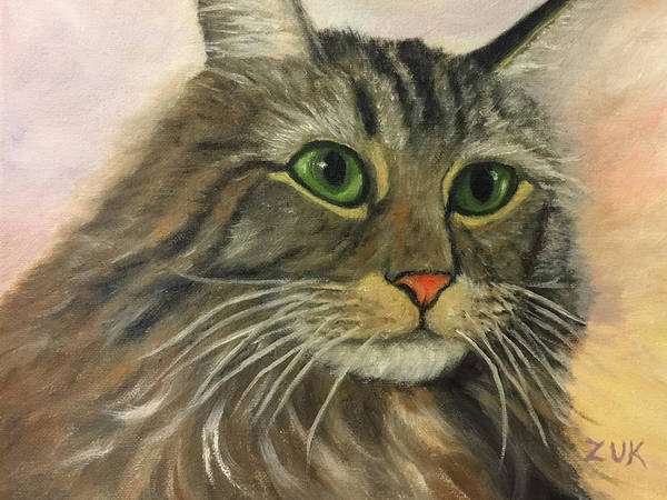 Painting - Maine Coon Cat by Karen Zuk Rosenblatt