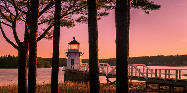 Art Print featuring the photograph Maine Doubling Point Lighthouse At Sunset Panorama by Ranjay Mitra
