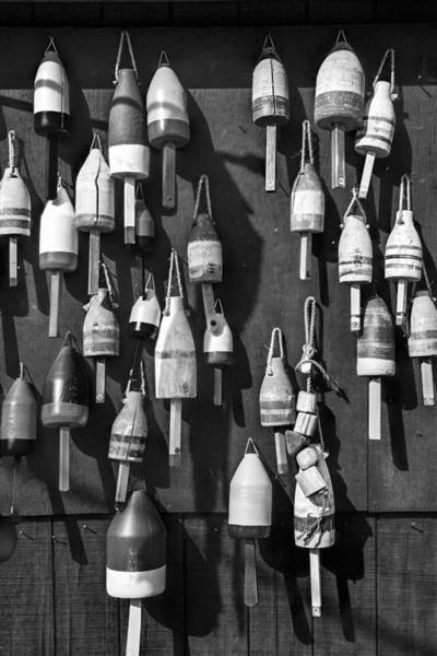 Angling Art Photograph - Maine Fishing Buoys In Black And White by Randall Nyhof