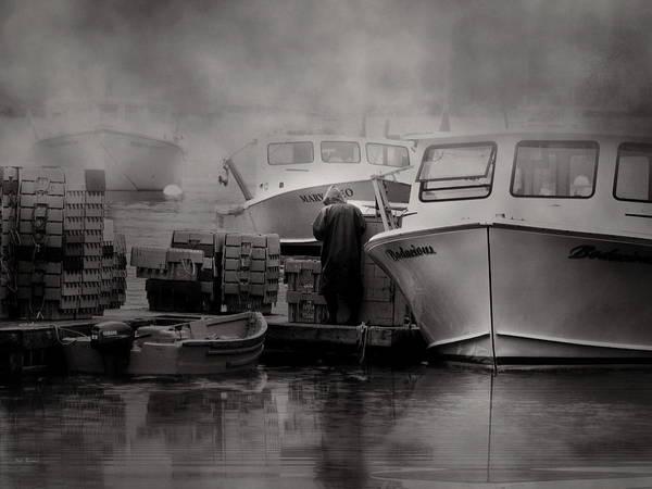 Photograph - Maine Fog And Fisherman by Bob Orsillo