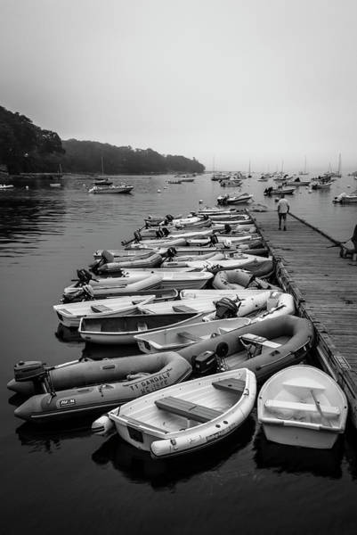 Photograph - Maine Harbor On Misty Morning In Bw by Ranjay Mitra