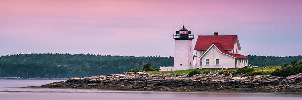 Photograph - Maine Hendricks Head Lighthouse In Southport At Sunset by Ranjay Mitra