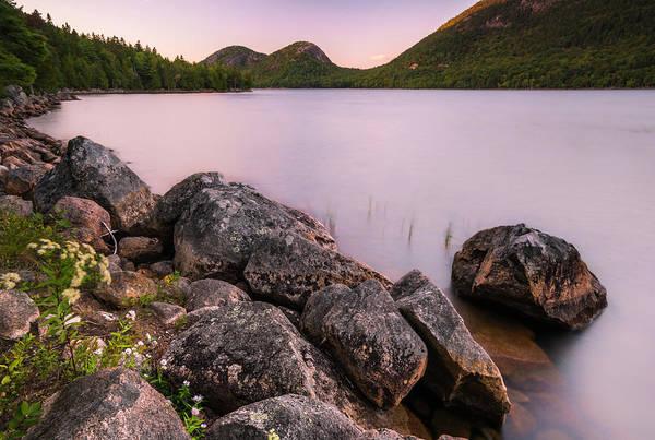 Photograph - Maine Jordan Pond Bubble Mountain Sunset by Ranjay Mitra