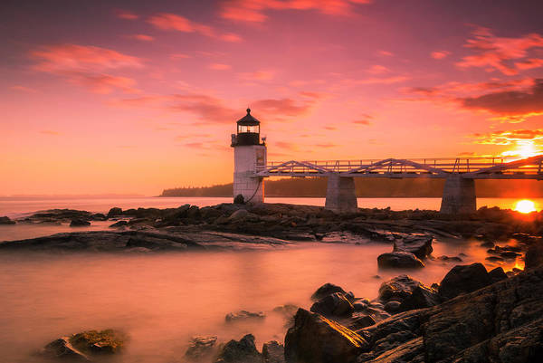 Art Print featuring the photograph Maine Lighthouse Marshall Point At Sunset by Ranjay Mitra