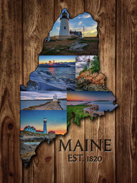 Atlantic Digital Art - Maine Lighthouses Collage by Rick Berk