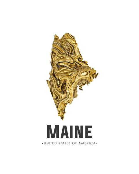 Maine Map Art Abstract In Golden Brown Art Print