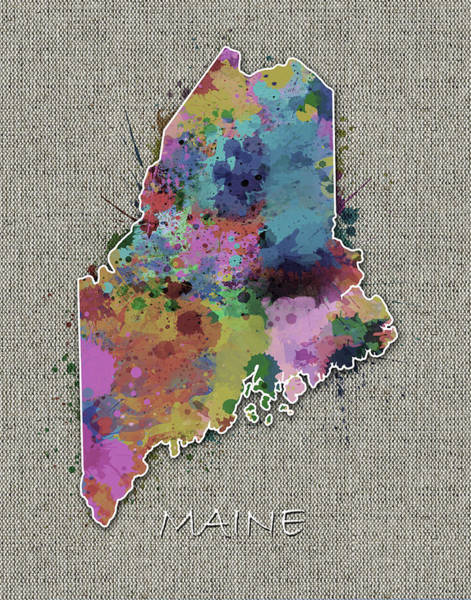 Wall Art - Digital Art - Maine Map Color Splatter 5 by Bekim M