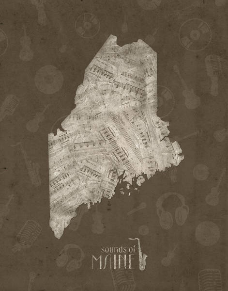 Wall Art - Digital Art - Maine Map Music Notes 3 by Bekim M