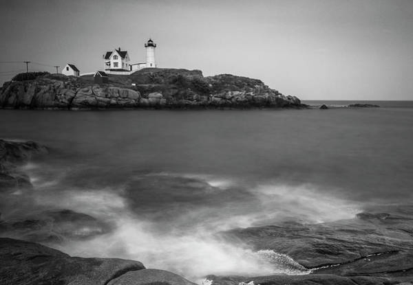 Photograph - Maine Nubble Lighthouse And Rocky Shores In Bw by Ranjay Mitra