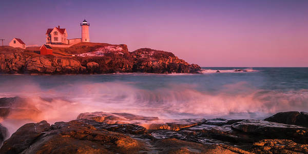 Photograph - Maine Nubble Lighthouse Waves Panorama by Ranjay Mitra