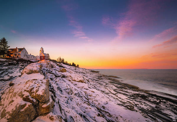 Art Print featuring the photograph Maine Pemaquid Lighthouse In Winter Snow by Ranjay Mitra