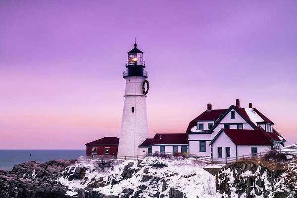 Photograph - Maine Portland Headlight Lighthouse At Sunset In Winter With Snow by Ranjay Mitra