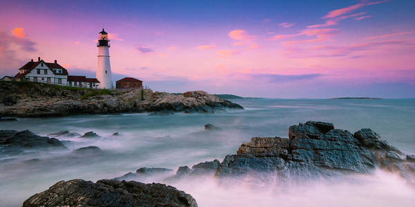 Art Print featuring the photograph Maine Portland Headlight Lighthouse At Sunset Panorama by Ranjay Mitra