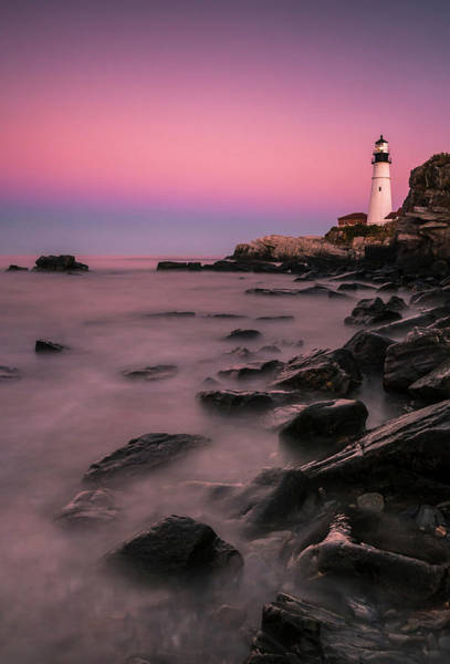 Photograph - Maine Portland Headlight Lighthouse At Sunset by Ranjay Mitra