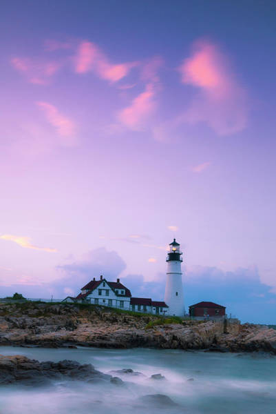 Art Print featuring the photograph Maine Portland Headlight Lighthouse In Blue Hour by Ranjay Mitra