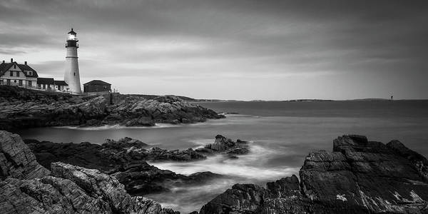 Photograph - Maine Portland Headlight Ram Island Light Bw Panorama by Ranjay Mitra