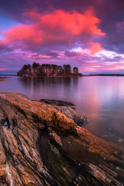 Art Print featuring the photograph Maine Pound Of Tea Island Sunset At Freeport by Ranjay Mitra