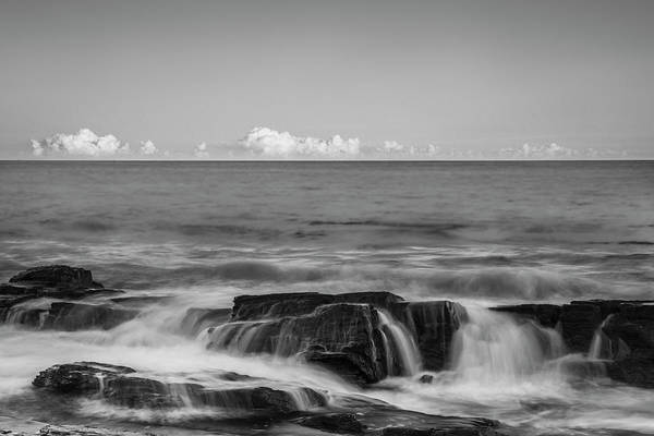 Photograph - Maine Rocky Atlantic Coast Crashing Waves And Clouds In Black And White by Ranjay Mitra