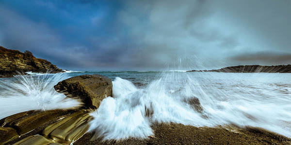Art Print featuring the photograph Maine Rocky Coast During Storm At Two Lights by Ranjay Mitra