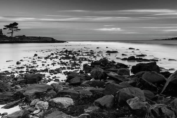 Photograph - Maine Rocky Coast In Bw by Ranjay Mitra
