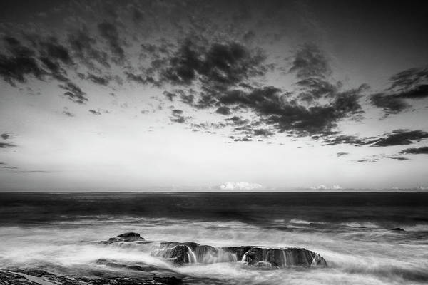 Art Print featuring the photograph Maine Rocky Coast With Boulders And Clouds At Two Lights Park by Ranjay Mitra