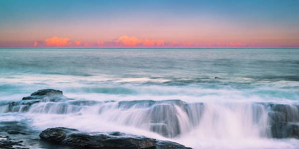 Art Print featuring the photograph Maine Rocky Coastal Sunset Panorama by Ranjay Mitra