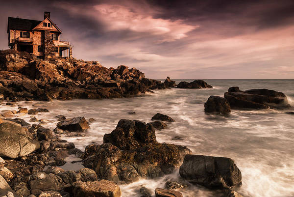 Photograph - Maine Rocky Coastal Sunset With Storm Clouds by Ranjay Mitra