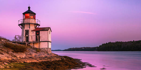 Art Print featuring the photograph Maine Squirrel Point Lighthouse On Kennebec River Sunset Panorama by Ranjay Mitra