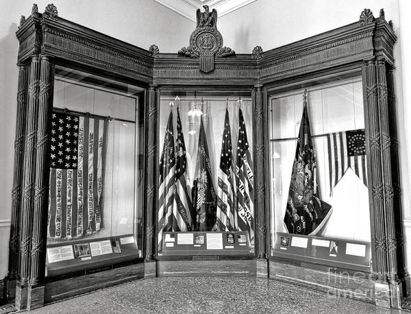 Photograph - Maine State Capitol Hall Of Flags Civil War Display Case One by Olivier Le Queinec