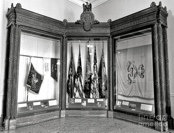 Photograph - Maine State Capitol Hall Of Flags Civil War Display Case Two by Olivier Le Queinec
