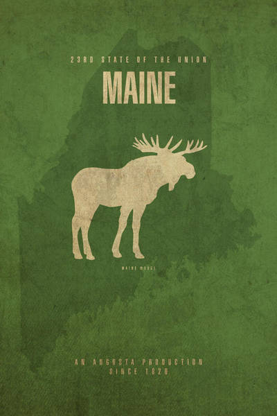 Wall Art - Mixed Media - Maine State Facts Minimalist Movie Poster Art by Design Turnpike